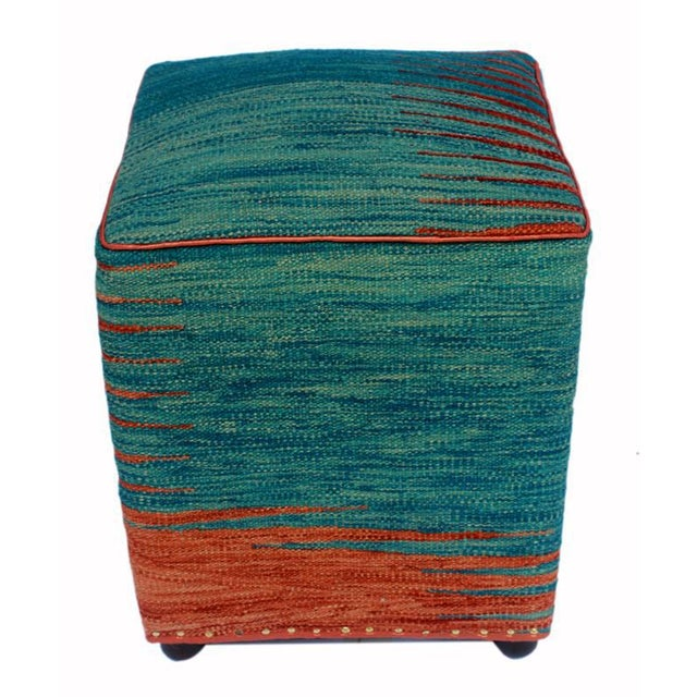 Arshs Dominica Blue/Rust Kilim Upholstered Handmade Ottoman For Sale - Image 4 of 8