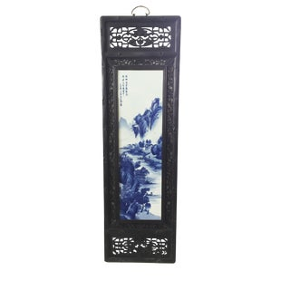 """Lg Chinoiserie Blue and White Porcelain Wood Panel 47"""" H For Sale"""