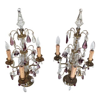 1910s French Bronze Crystal Girandole Table Lamps - a Pair For Sale