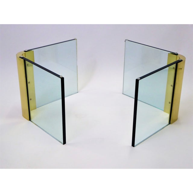 Brass Modern Large 1970s Thick Glass & Brass Coffee Table For Sale - Image 7 of 13