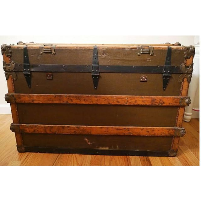 Animal Skin Fabulous Victorian Antique Canvas Leather & Wood Steamer Trunk For Sale - Image 7 of 7