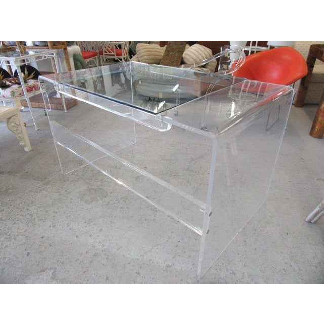 Lucite & Glass Lucite Waterfall Desk - Image 6 of 8