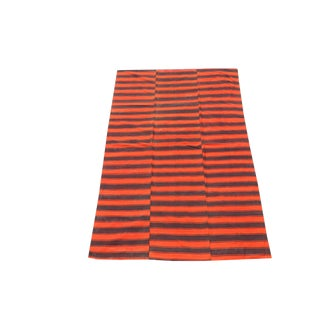 Late 20th Century Turkish Modern Handmade Striped Flatweave Textile Rug - 5′6″ × 8′10″ For Sale