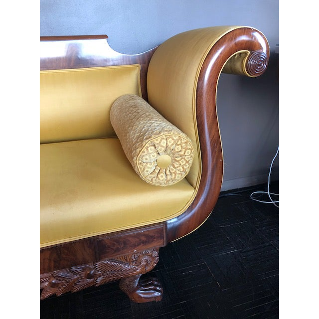 Yellow Silk Empire Settee For Sale In New York - Image 6 of 12