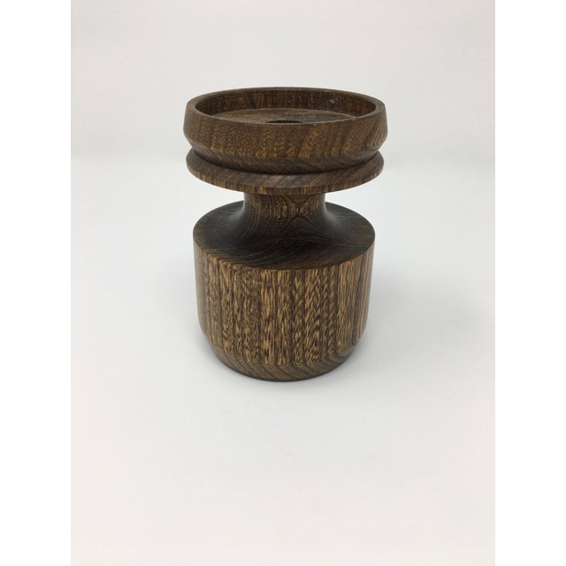 Brown Mid-Century Modern Artisan Made Wood Candle Holder For Sale - Image 8 of 10