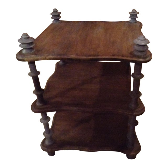 Three Shelf Brown Wooden Table, With Wooden Posts in Light Turquoise Color - Image 1 of 5