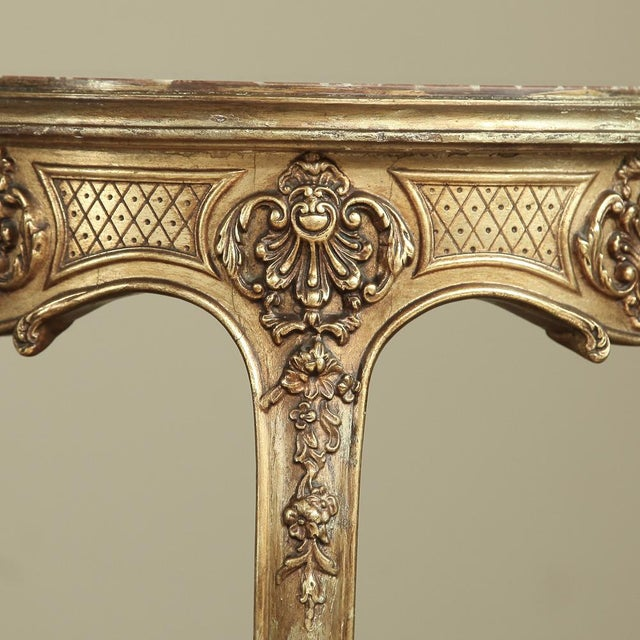 Giltwood 19th Century French Giltwood Marble-Top Lamp Table For Sale - Image 7 of 11
