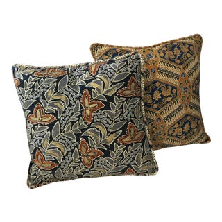 Hand Crafted Batik Pillows With Bronze Overlay - a Pair