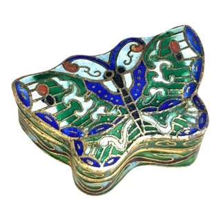 1960s Cloisonne Butterfly Box For Sale