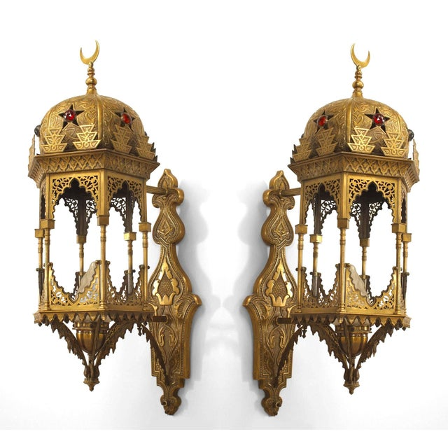 Five 5 early 20th century Middle Eastern Moorish style 6-sided bracket lantern wall sconces with embossed brass, fretwork...