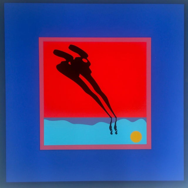 "Ernest Trova Ernest Trova Limited Edition Original Serigraph Print Framed Poster "" Falling Man "" 1972 For Sale - Image 4 of 10"