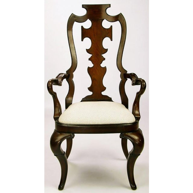 Mid-Century Modern Pair of High Back Carved Walnut Gothic Style Armchairs For Sale - Image 3 of 9
