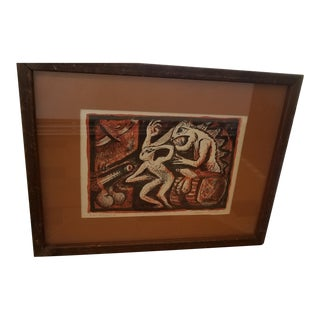 Mid Century Block Print Arthur Secuada For Sale