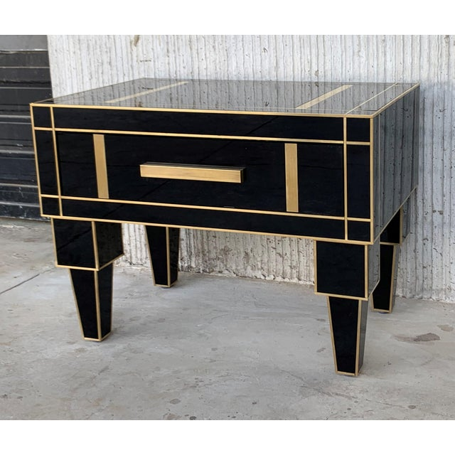 2010s New Pair of Mirrored Low Nightstand in Black Mirror and Chrome With Drawer For Sale - Image 5 of 11