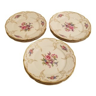 Rosenthal-Continental Center Gold Hand Painted With Gold Gilt Dinner Plates - Set of 9 For Sale