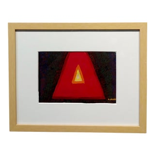 Conrad Buff - Deep Red Triangle -Modernist Oil Painting For Sale