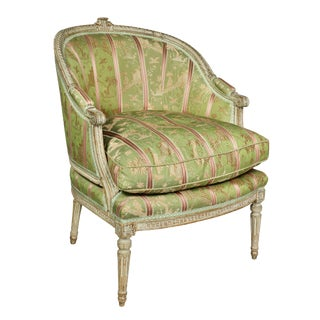 Louis XVI Painted Bergere Chair For Sale