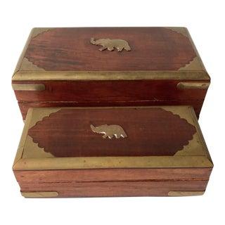 Vintage Indian Rosewood Nesting Boxes-Brass Elephants-Set 2 For Sale