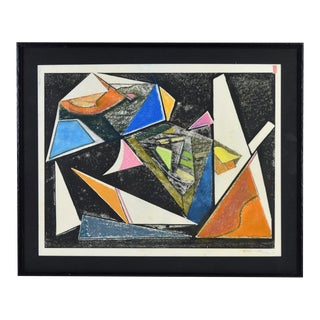 Modern Geometric Oil Crayon Painting Signed Kc Bennett For Sale