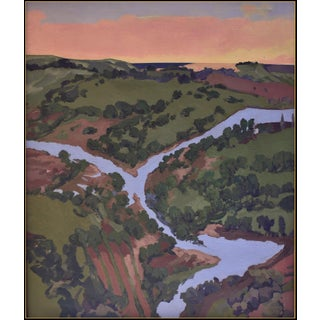 'Maui Valley Isle Stream and Sunset' Large Work by American Expressionist George Brinner For Sale