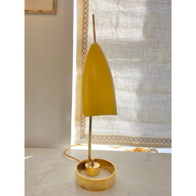 "Beautiful and chic bright yellow Italian 1970s Enameled Adjustable Table Lamp. 24"" x 6 1/4"" x 6"" at base"