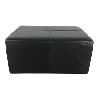 Modern Room & Board Contemporary Leather Upholstered Ottoman For Sale