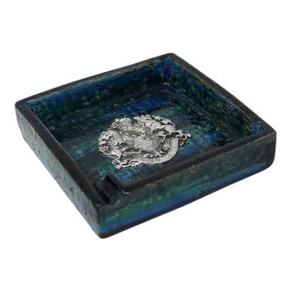 1960s Bitossi Ceramic Blue Ashtray For Sale