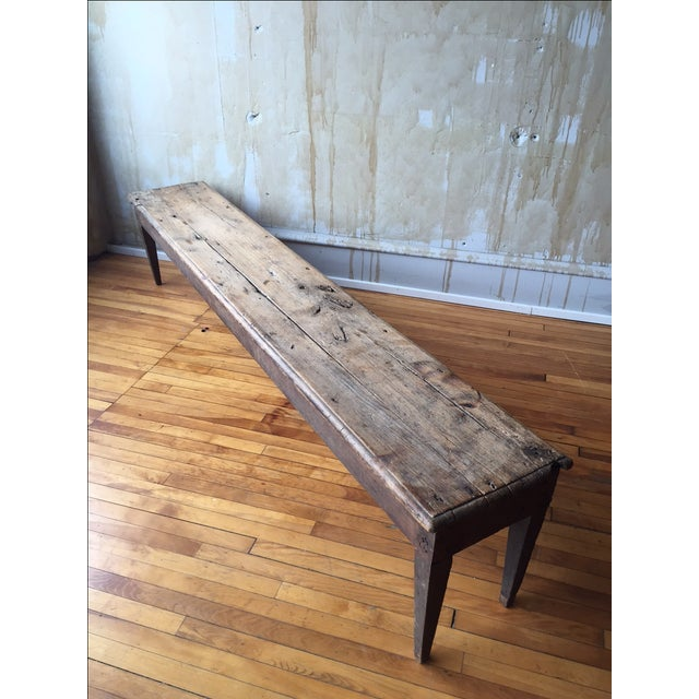 Antique Italian Farmhouse Rustic Bench - Image 2 of 7