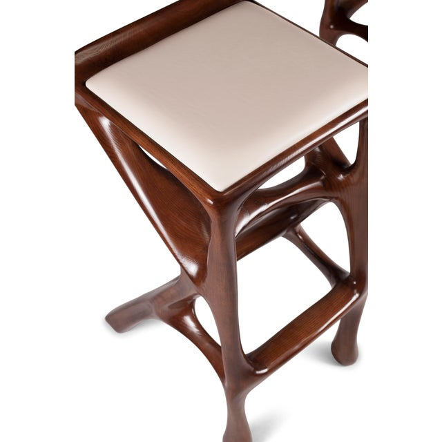 Amorph Chimera Bar Stool, Stained Walnut For Sale - Image 10 of 13