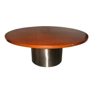 Knoll Round Dining or Conference Table With Stainless Steel Cylinder Base For Sale