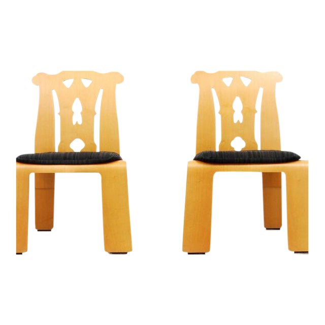 Textile 1980s Chippendale Robert Venturi Side Chairs - a Pair For Sale - Image 7 of 7
