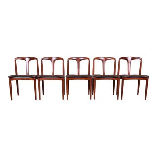 Johannes Andersen for Uldum Sculpted Teak Juliane Dining Chairs, Newly Restored For Sale