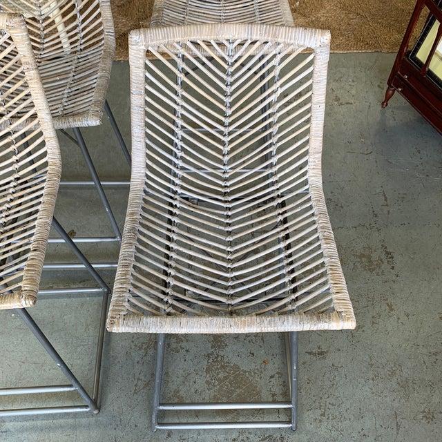 Vintage White Washed Rattan Barstools - Set of 4 For Sale - Image 9 of 10