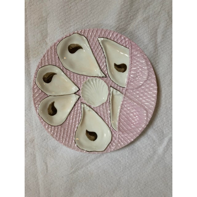 Early 20th Century French Pink and White Oyster Plate For Sale - Image 5 of 5