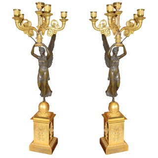 18th C. Winged Victory Candlesticks - A Pair