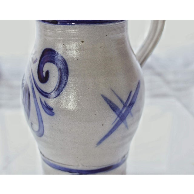 Ceramic Alsace Pottery French Betschdorf Salt Glazed Pitcher Jug For Sale - Image 7 of 9