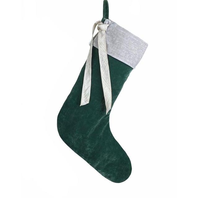 Green Velvet Christmas Stocking For Sale In Birmingham - Image 6 of 6