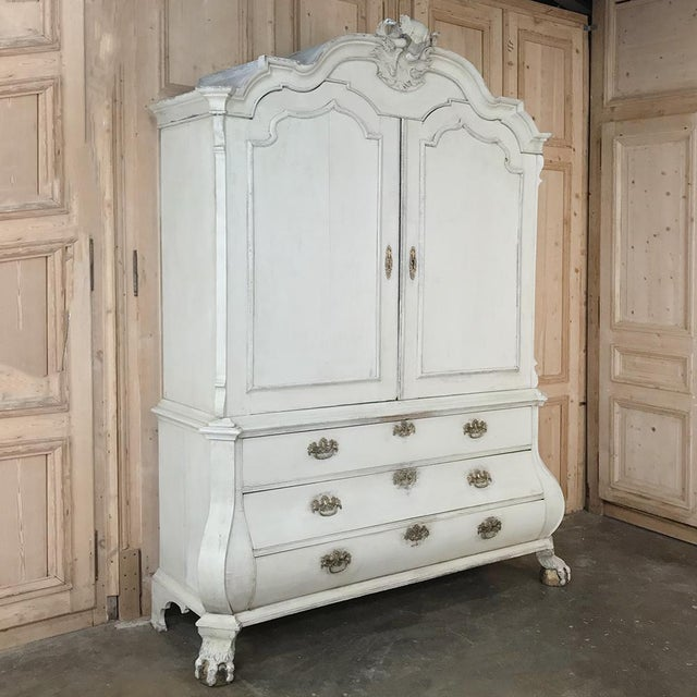 French 18th Century Dutch Painted Wardrobe For Sale - Image 3 of 13