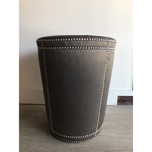 Chrome Moire Upholstered Stool With Chrome Nail Heads For Sale - Image 7 of 7