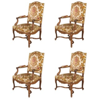 French Regency Velvet Upholstered Walnut Fauteuil Arm Chairs - Set of 4