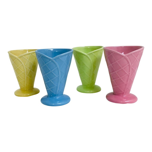 Vintage Bright Pastel Ceramic Waffle Cone Ice Cream Parfait Cups - Set of 4 For Sale