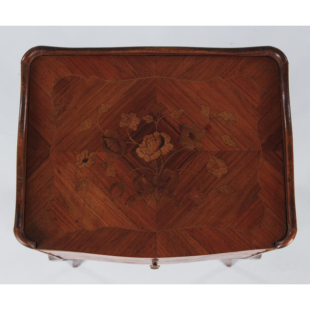 20th Century Louis XV Marquetry Bedside Chest of Drawers For Sale In Austin - Image 6 of 13