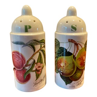Portmeirion Pomona Vintage Tall Pear & Peach Salt & Pepper Shakers - a Pair For Sale