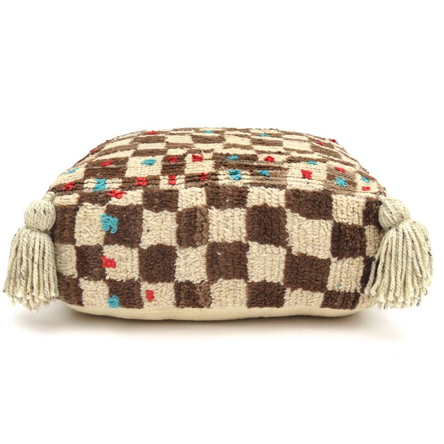 Brown Vintage Mid Century Checkered Berber Pouf For Sale - Image 8 of 11