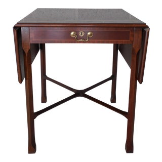 BAKER Banded Mahogany 1 Drawer Drop Side Pembroke Accent Table For Sale