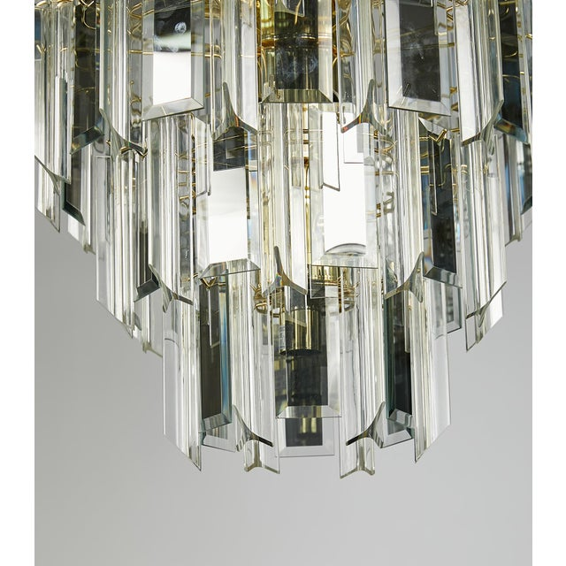 Vintage Italian Waterfall Chandelier With Lucite and Mirrored Prisms For Sale - Image 4 of 13