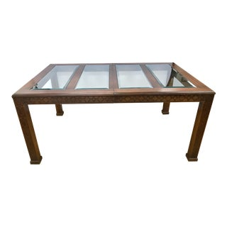 Chinoiserie Chinese Chippendale Style Carved Mahogany and Glass Dining Table For Sale