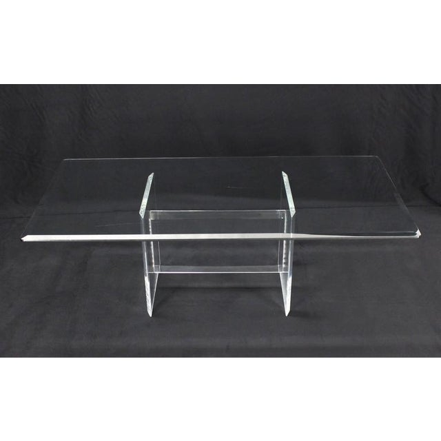 Mid-Century Modern Lucite Base Glass Top Rectangular Coffee Table For Sale - Image 3 of 7