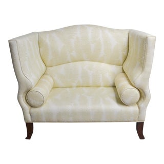 Modern Custom Duralee Linen Fern Fabric Settee For Sale