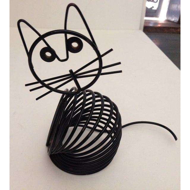 Vintage Mid-Century Black Wire Cat - Image 3 of 6